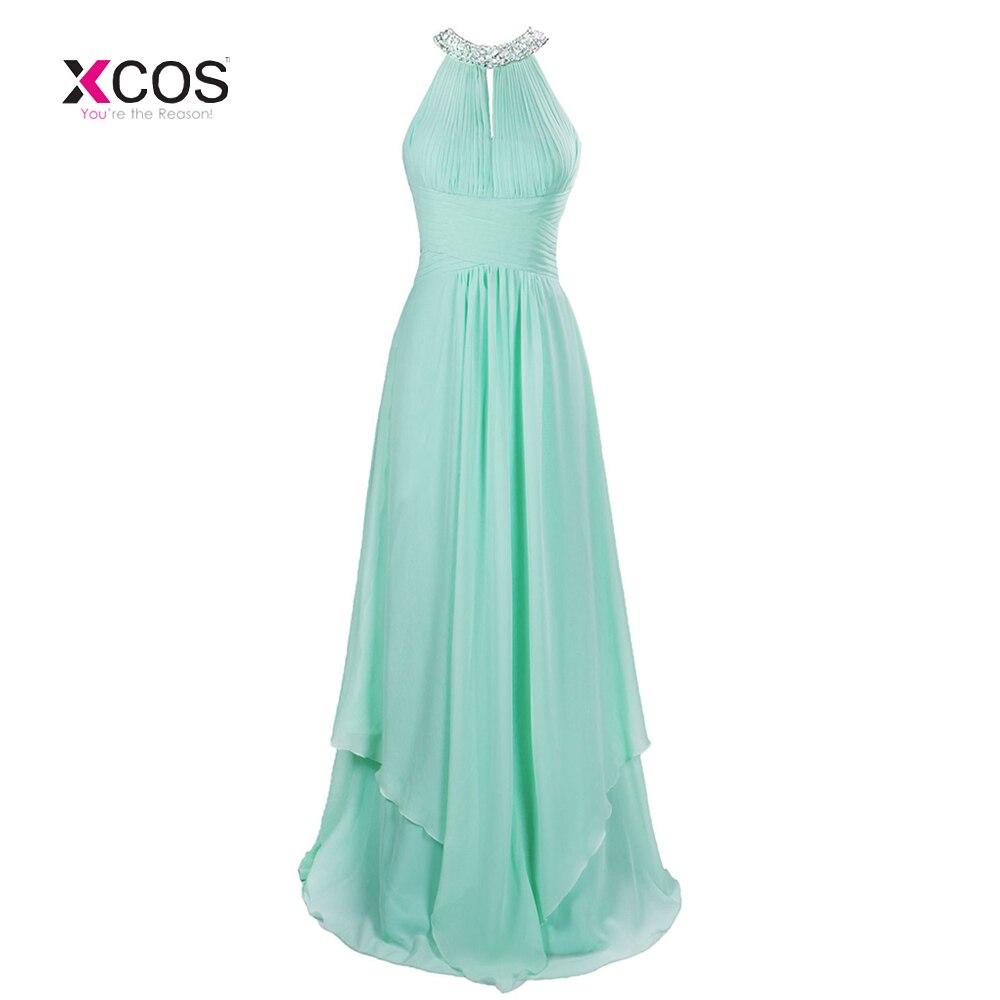 8701400a5cf3 Μακρύ φτηνό νομισματοκοπείο πράσινο Halter παράνυμφος φορέματα ...