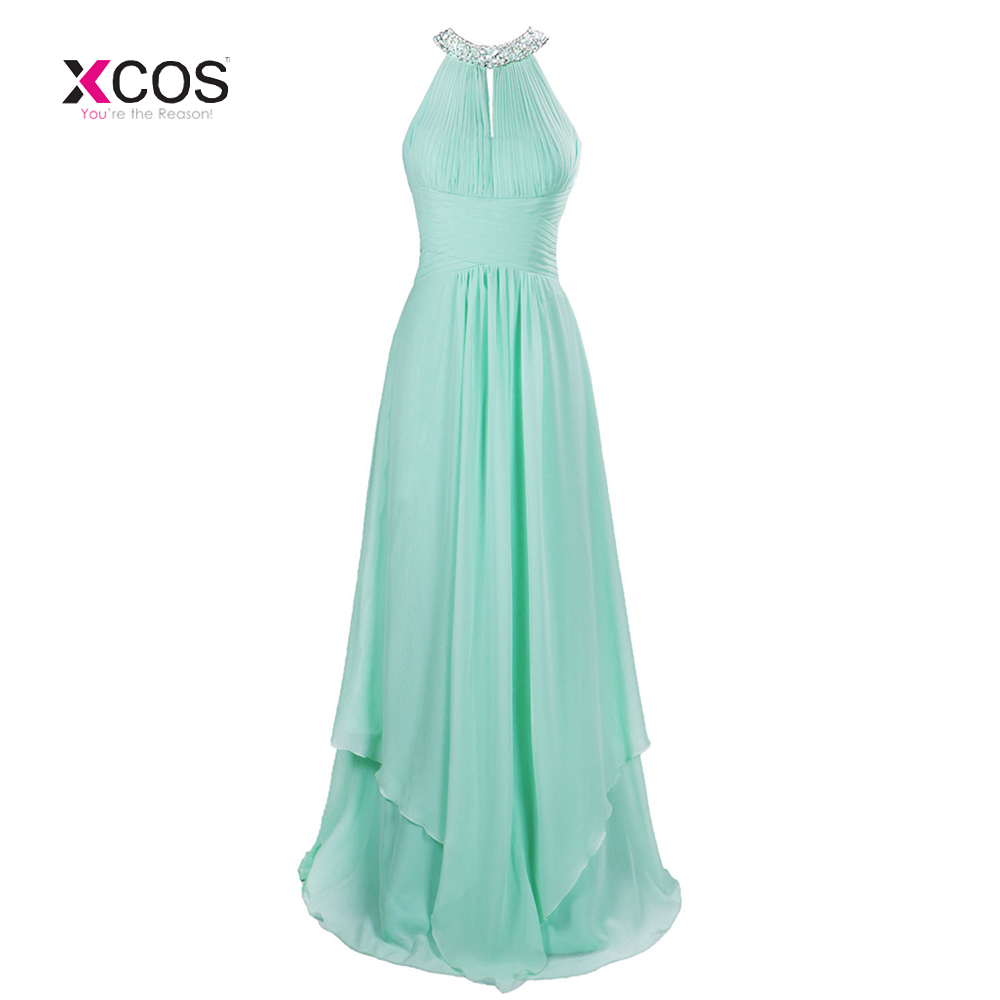 Long Cheap Mint Green Halter   Bridesmaid     Dresses   Floor Length Chiffon Crystal A-Line Prom Wedding Guest Gowns Vestido De Madrinha