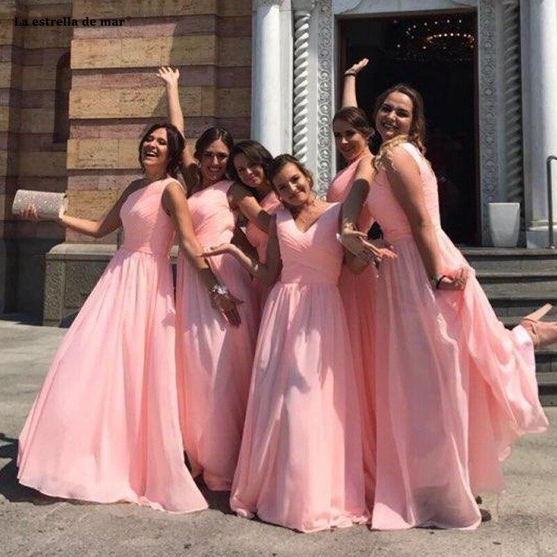 Vestido madrinha new chiffon one shoulder A Line pink mint green turquoise   bridesmaid     dresses   long wedding guest   dress