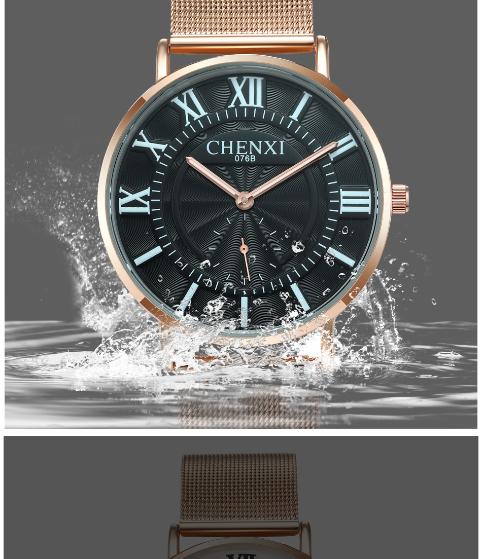 Fashion Chenxi Brand Wristwatch Women Man Lovers Charm Lovers Watches Waterproof 076 Rose Gold White Black Mesh Stainless Steel