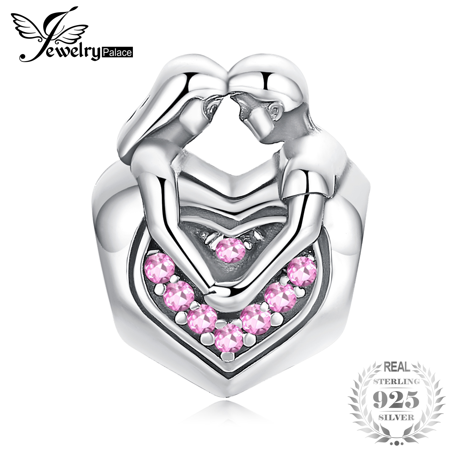 JewelryPalace Faithful Love Created Pink Sapphire 925 Sterling Silver Beads Charms Fit Bracelets Bangles Fashion Couple Jewelry