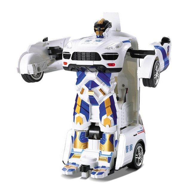 Free Shipping Car Models Deformation Robot Police Transformation Remote Control RC Car Toys for Children Christmas Gift TT664J