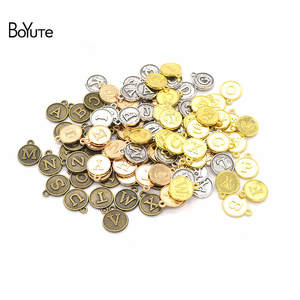 BoYuTe (26 Pieces/Set) 15*12MM 5 Colors Metal Alloy Alphabet English Letters Charms Pendants Diy Jewelry Accessories