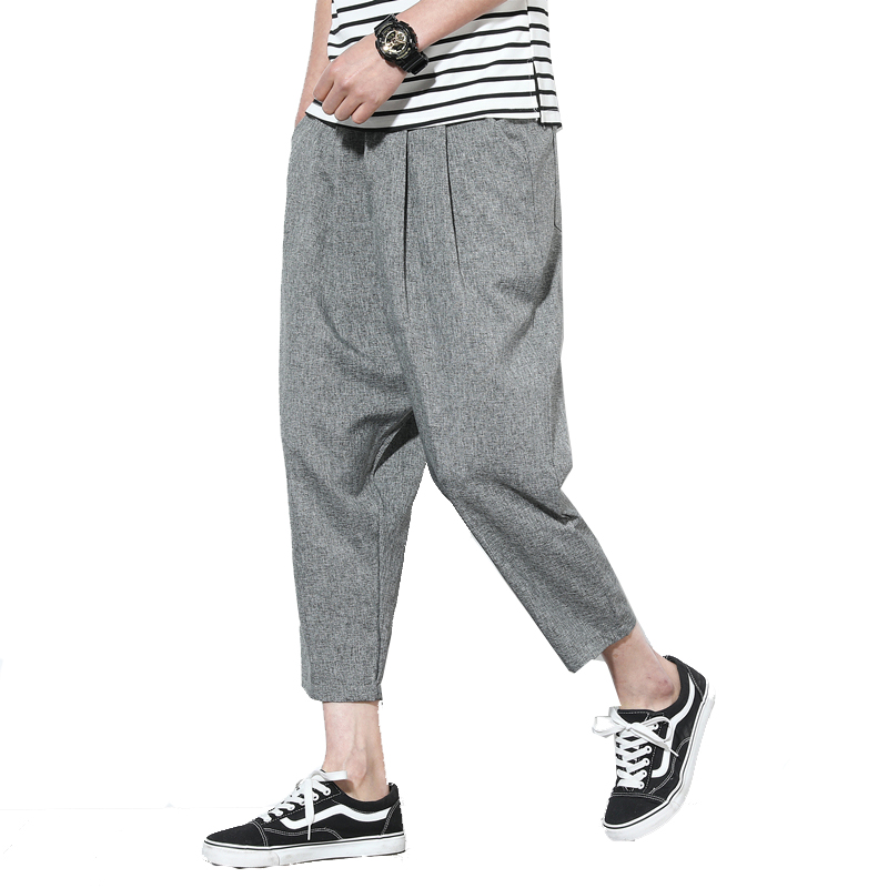 Summer Pants Trousers Loose Ankle-Length Cotton Linen Straight Casual Male Solid Slim