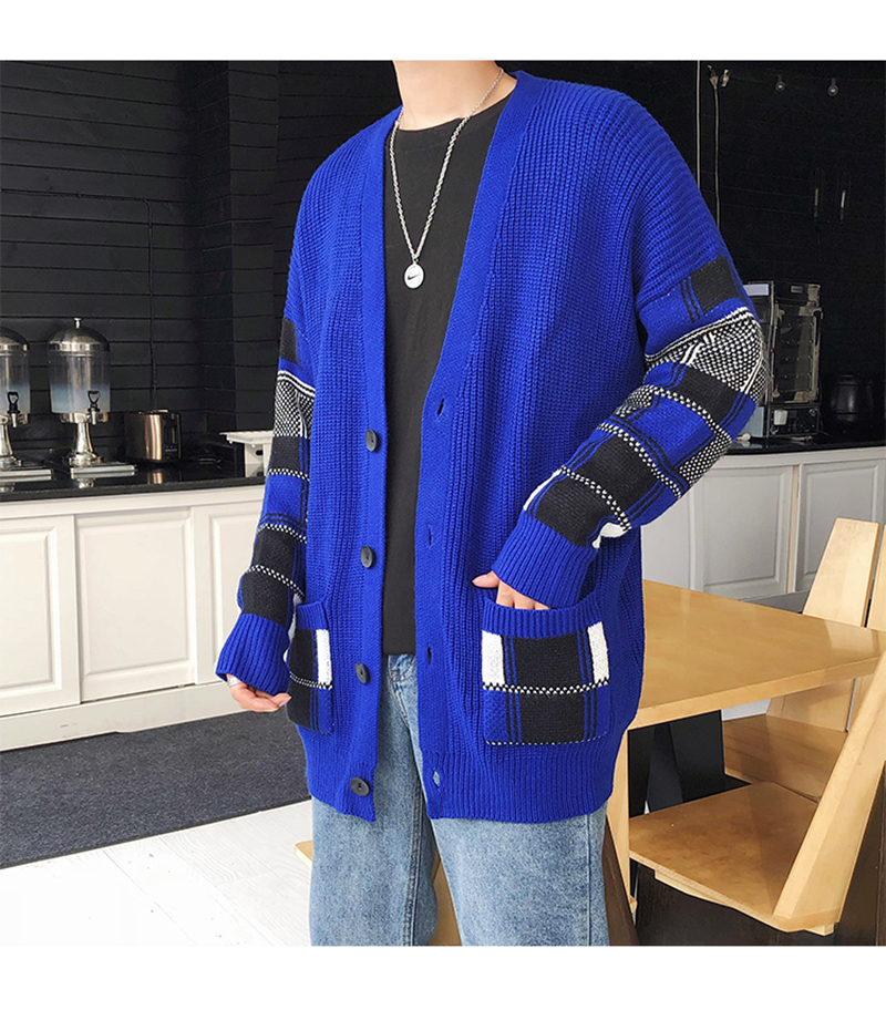 Korean Oversized Sweater Cardigan Men Plaid (25)
