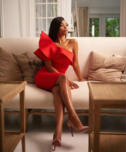 KLEEZY Elegant One Shoulder Sleeveless Sexy Ruffles Evening Party Solid Bodycon Bandage Pencil Dress HL2596