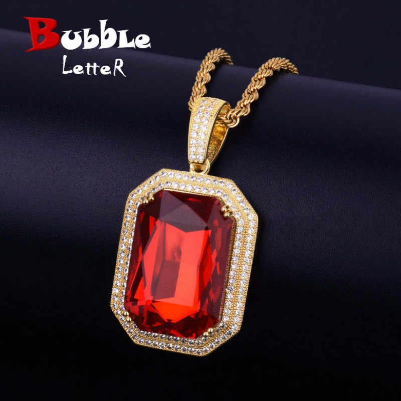 Iced AAA Zircon Pendant Necklace Bling Bling Hip Hop Jewelry Square Big Red Blue Gem Necklace & Pendant For Men/Women