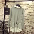 Casual Women Knitting Tops Plus Size 3XL 4XL 5XL Ruffles Long T-shirt Gray QYL107