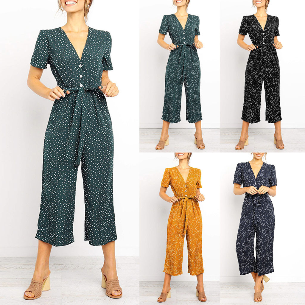 Body Jumpsuit Women Body Mujer Sexy Bodysuit Women Casual Short Sleeve V Neck High Waisted Wide Playsuits Beach Jumpsuit Z4