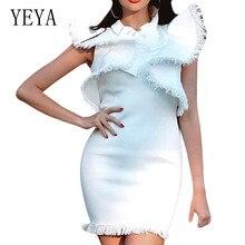 YEYA New Arrival Large Lotus Leaf Sleeve Tassel Dress Fashion O-neck Slim Mini Summer Night Party Femme Bodycon Clothing