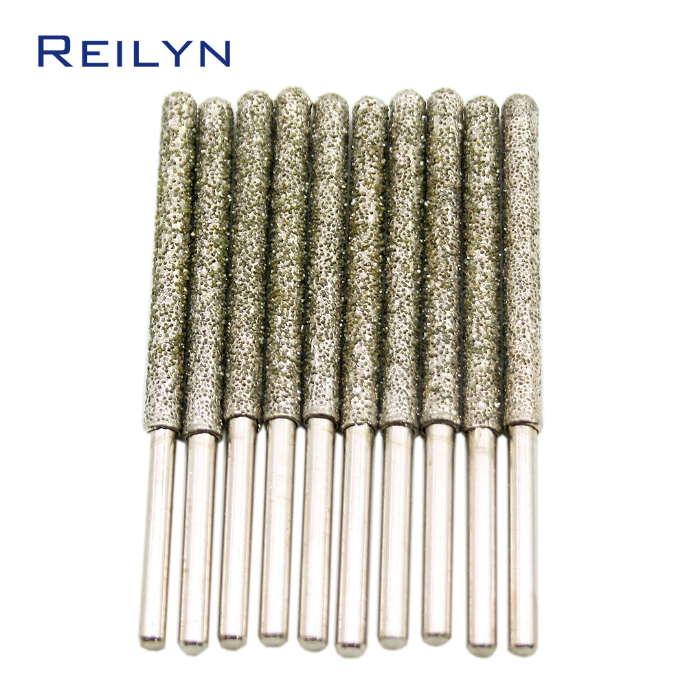 Купить с кэшбэком coarse emery grinding burr grit #30/60 grinding bits shank 4mm ultra-long 6mm/7mm diamond abrasive bits peeling trimming bits