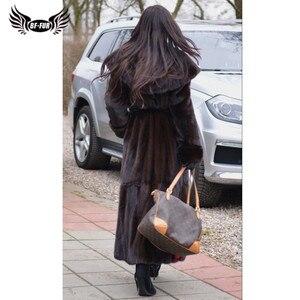 Image 2 - BFFUR 2020 Chegada Nova Real Mink Fur Coat Inverno Casacos Quente 120 centímetros Longo Genuine Mink Casacos Com Capuz casacos quentes Mulher