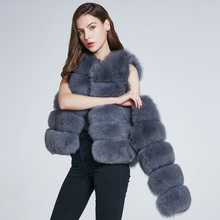 JKP Womens Warm Natural Fox Fur Coat Short Winter jacket Female Removable Sleeves