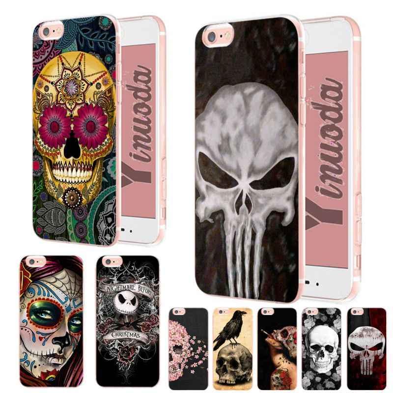 Yinuoda Messicano Del Cranio Della Ragazza Tatuato Arte Colorato Carino Accessori Del Telefono per Il Caso di Iphone X Xs Xr Xsmax 6 6S 7 7 Plus 8 8 Più di 5 5S