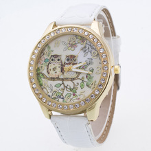Fashion Lovely Owl Couple Lover PU Leather Anolog Round Dial Quartz Wrist Watches Wristwatches for Women Ladies Students OP001