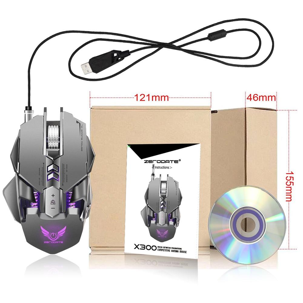 Souris de jeu filaire USB professionnelle 7 boutons réglable 3200 DPI LED lumière Variable USB souris de jeu mécanique pour ordinateur portable PC - 6