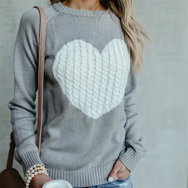 Women sweaters 2018 new fashion knitwear jumper street trend heart pattern sweater  women winter warm tops e5d3796b8