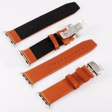 38 mm 42 mm de Metal hebilla de mariposa de múltiples colores Iwatch cuero genuino reloj de pulsera para Apple reloj 38 mm 42 mm