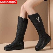 MORAZORA/ г., Новое поступление, зимние ботинки для русской зимы женская теплая обувь на плоской платформе на молнии со стразами женские сапоги до колена