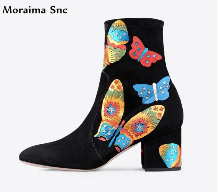 Moraima Snc Ankle boots vintage suede print side zipper concise type high heel square heel pointed toe fashion women riding boot moraima snc chic women winter platform pointed toe mid calf boots solid black lace up fringe vintage suede high heel