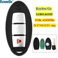 3 buttons keyless go 2+1 button remote key FSK 434 MHz PCF7953XTT chip for Nissan New X trail S180144105 with insert key