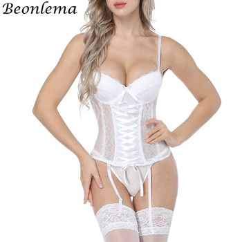 Beonlema Women Sexy Underwear Corset Erotic Korse Transparent Lace Mesh Corset Top Lingerie Slim Waist Bustier Push Up Corselet sexy lace corsets and bustiers women high quality lace up firm female corset push up lingerie bustier sheer mesh overbust corset