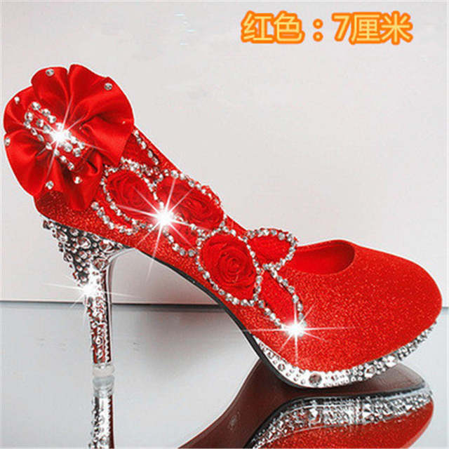 2017 women high heels prom wedding shoes lady crystal platforms silver  Glitter rhinestone bridal shoes thin 9408f91108d4