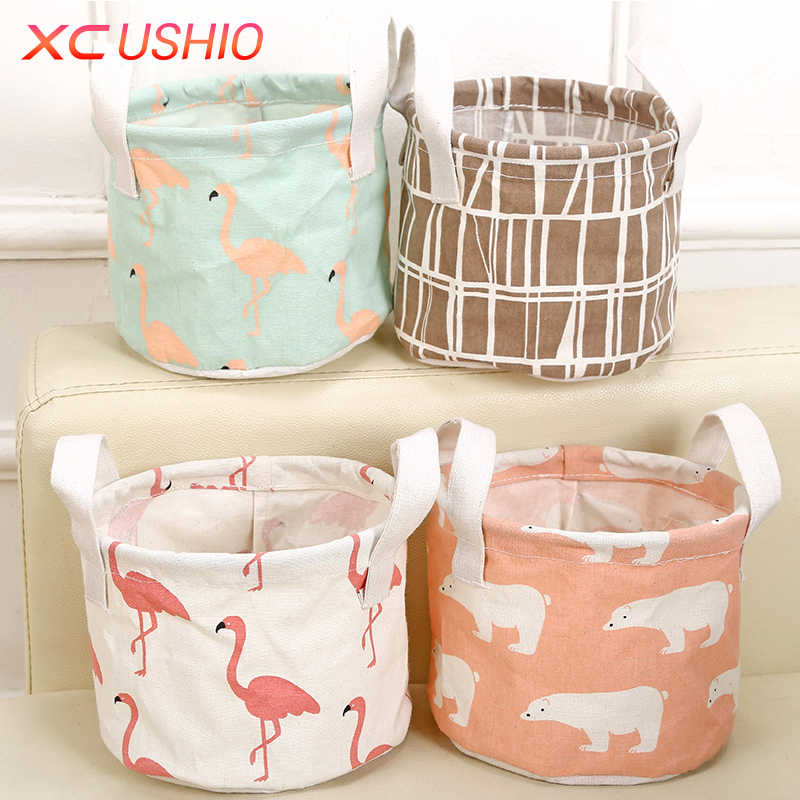 Cartoon Round Cotton Linen Desktop Storage Box Sundries Storage Organizer Stationery Cosmetic Storage Basket Container Case