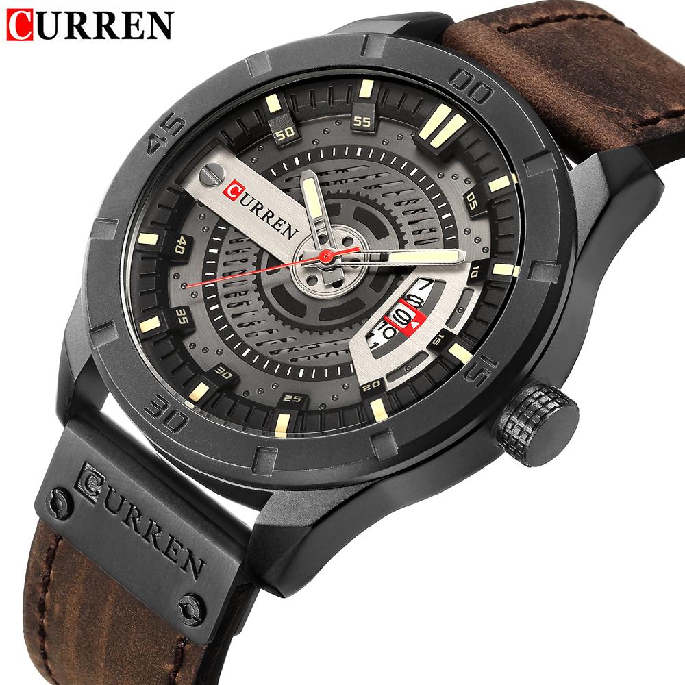 3a394abc3dd 2018 Marca de Luxo CURREN Homens Relógios Desportivos Militares dos homens  Data Homem Relógio de Pulso de Couro Casual Relógio de Quartzo Relogio  masculino