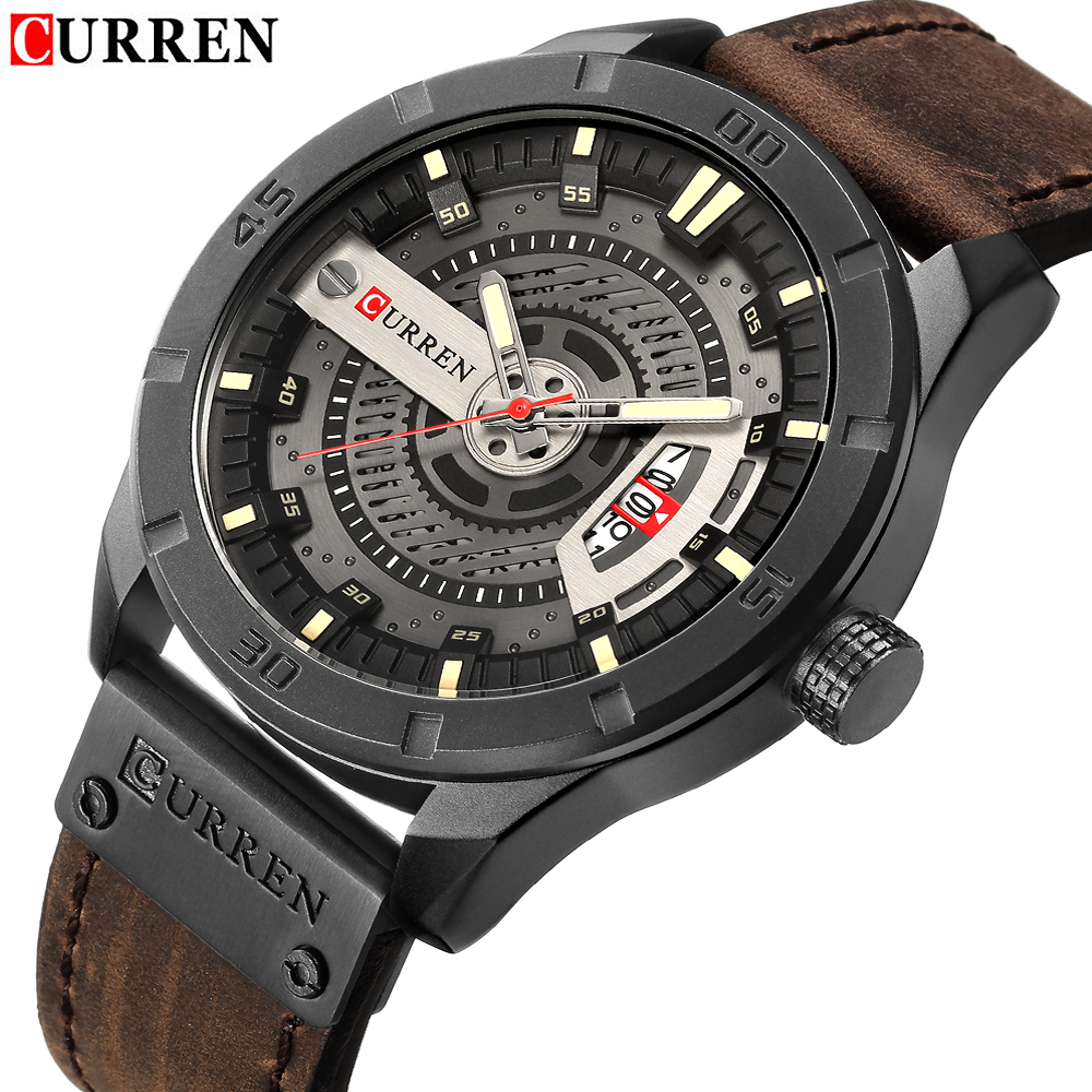 2018 Marca de Luxo CURREN Homens Relógios Desportivos Militares dos homens Data Homem Relógio de Pulso de Couro Casual Relógio de Quartzo Relogio masculino