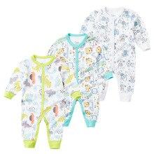 Купить с кэшбэком Brand summer spring Baby Romper Long Sleeves 100% Cotton Baby Pajamas Cartoon Printed Newborn Baby Girls Boys Clothes