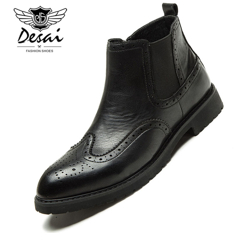 Desai Pointed Boots Shoes Men Classic Fashion Carved Design Chelsea Boots England Trend Career Work Ankle