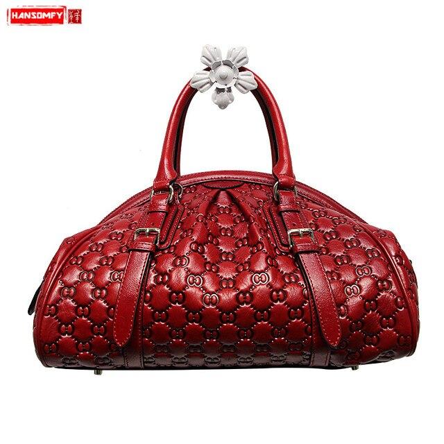 HANSOMFY sac à main en cuir pour femmes, sac à épaule, raviolis exquis gaufrés, sacs faits à la main personnalisé de bonne qualité en daim Fashion