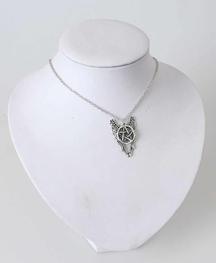 2017 w stylu Vintage kobiety moda Supernature pentagram skrzydła anioła serii srebrny naszyjnik biżuteria naszyjniki i wisiorki Bijoux Femme