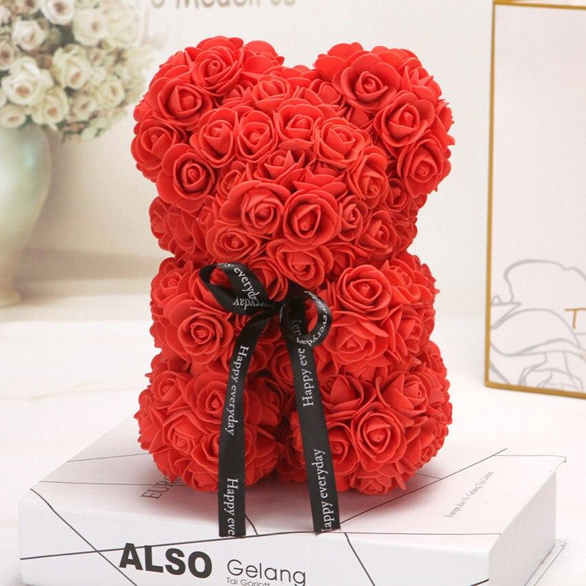 Горячая Распродажа, подарок на день Святого Валентина, 25 см, красная роза, плюшевый мишка, цветок розы, искусственное украшение, рождественские подарки для женщин, подарок на день Святого Валентина - Цвет: Red 25cm No Box