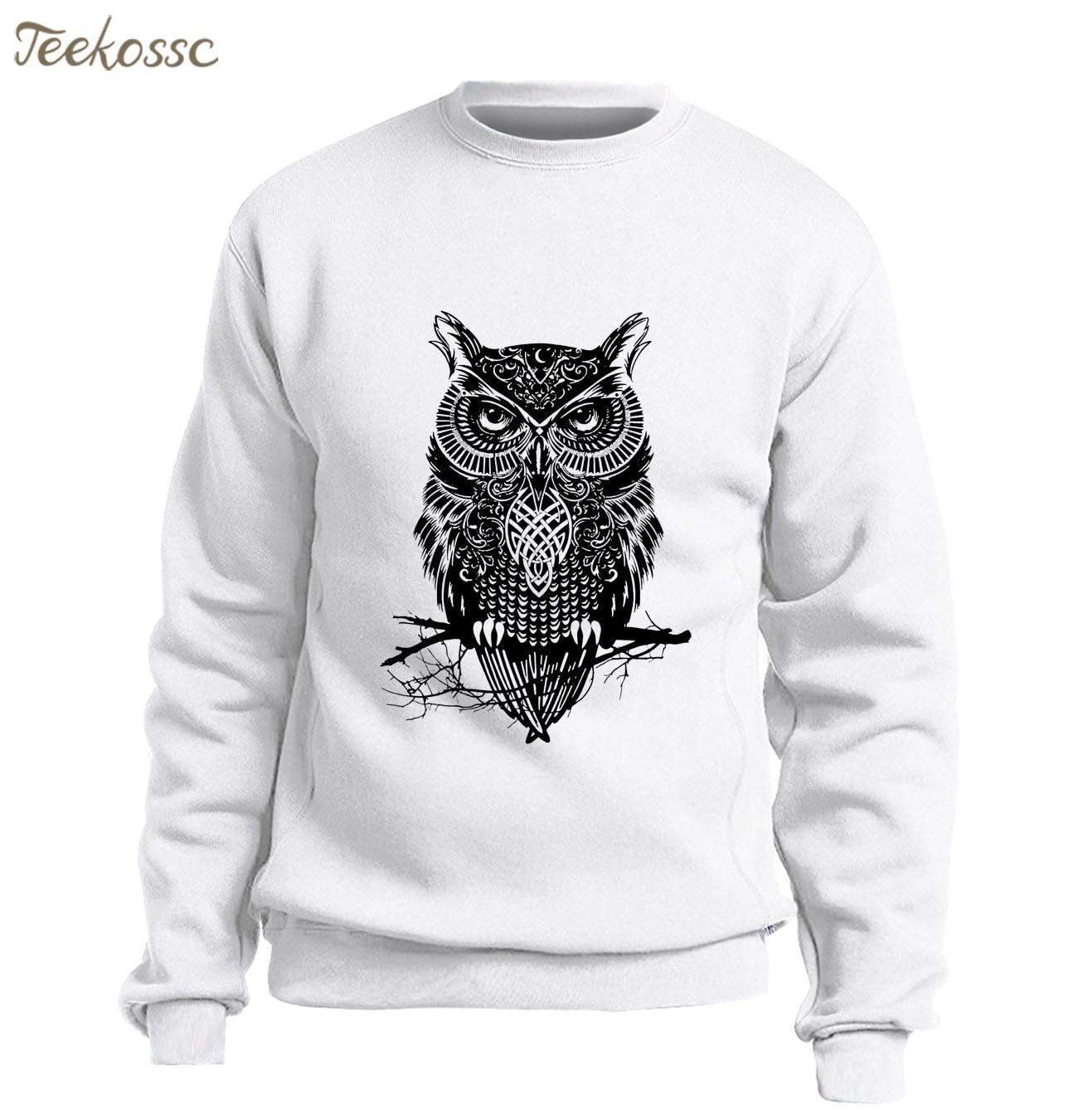 Animal Owl Sweatshirt Men Graphics Design Hoodie Slim Fit Pullover Sweatshirts Winter Autumn Fleece Warm Streetwear White Hoody