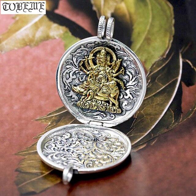 NEUE! 100% 990 silber Tibetischen Sechs Worte Gau kasten anhänger Echt Reine Silber Buddhistischen Marici Buddha Statue Gebet Box Anhänger Vajra