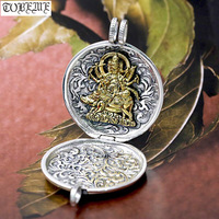 NEW! 100% 990 Silver Tibetan Six Words Gau Box Pendant Real Pure Silver Buddhist Marici Buddha Statue Prayer Box Pendant Vajra