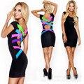 Clubwear atractivo 2015 nueva moda sexy back hollow de bodycon del vendaje midi vestido de las mujeres celebrity dress casual vestido de festa