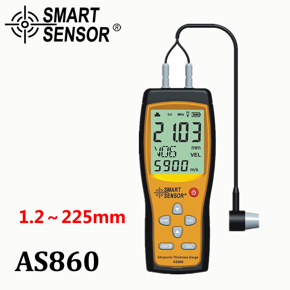 Misuratore di spessore ad ultrasuoni Digitale foglio di metallo campo di Misura: da 1.0 a 300mm (acciaio) velocità del suono Intelligente Sensore di AS860
