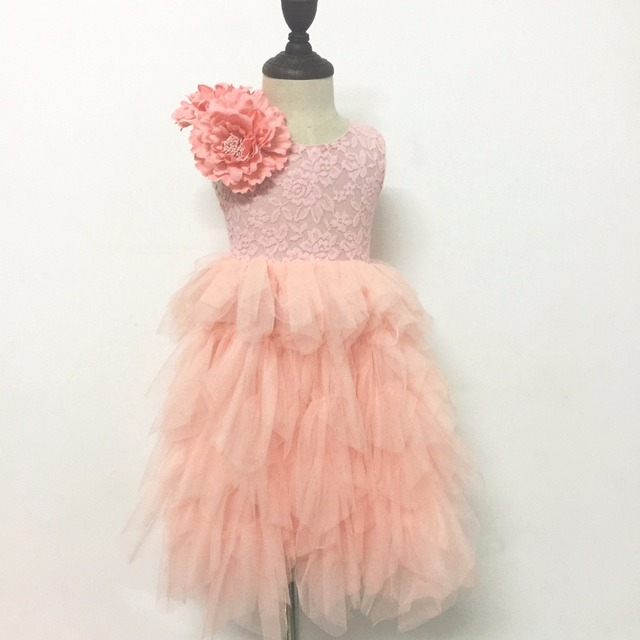 1fcecddc7c 2017 Fall Girls Tulle Long Dress Sweet Puffy Maxi Dress for Princess Big  Flower V back Costumes For Wedding Birthday Holiday
