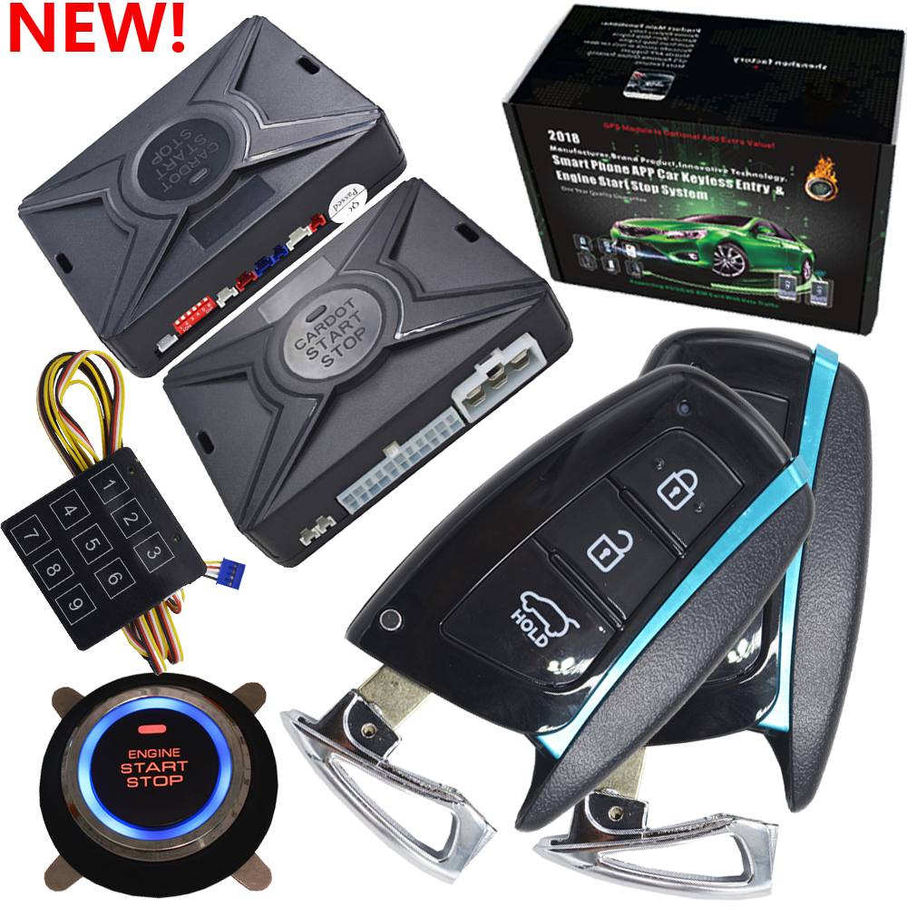 car Passive keyless entry automotive car alarm working with auto window up module engine start stop button remote car alarm-in Burglar Alarm from Automobiles & Motorcycles    1