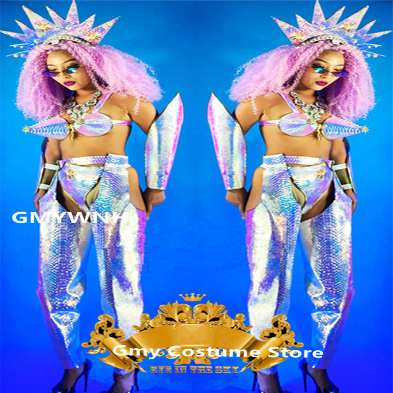 K52 Laser miroir femme body bar modèles performance porte robe sexy vêtements de bal danse costumes dj show tenue sirène soutien-gorge