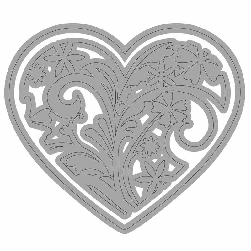 Naifumodo Floral Heart Metal Cutting Dies Scrapbooking for Card Making DIY Embossing Cuts New Craft Die Heart Cover