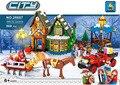 Serie de la ciudad de Navidad Santa Claus Trineo de vivienda Kits de Edificio Modelo Bloques de Ladrillos de Juguete de Regalo Chica Compatible lepin P695