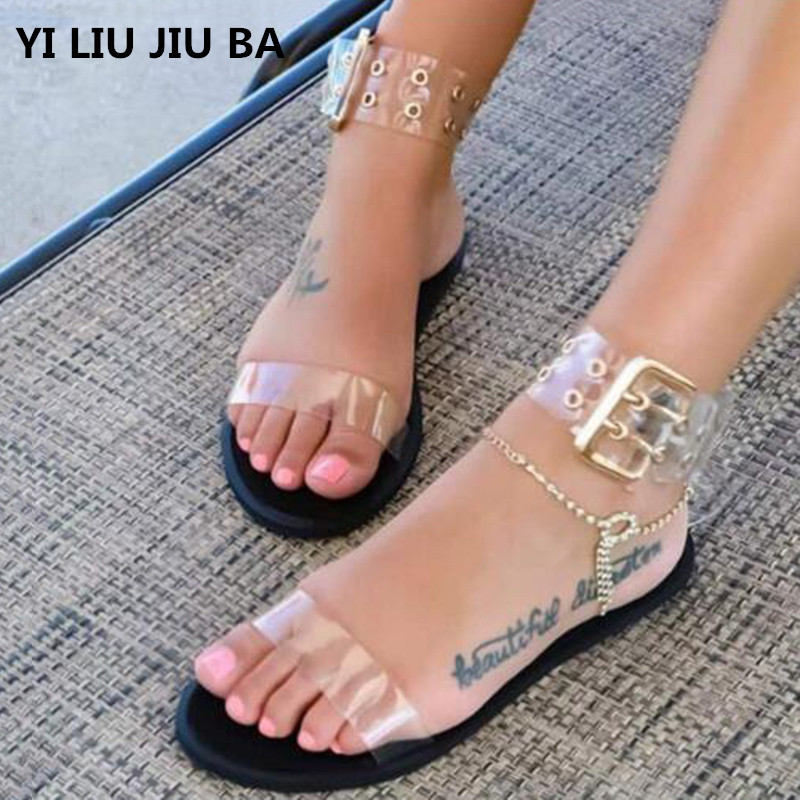 Women Sandals Transparent Flat Summer Gladiator Open Toe