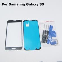 Black LCD Front Touch Screen Outer Glass Lens Replacement for Samsung Galaxy S5 SV G900 G900A G900P G900R4 G900T+Adhesive+Tools