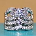 Fancy Women's 925 Silver Simulated Diamond Stone CZ Pave Set Bridal Wedding Three-layers Triple Mask Ring Sets