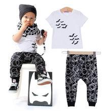 Newborn Baby Boy's Outfits Set Print Bat Short sleeve T-shirt Pants Clothing