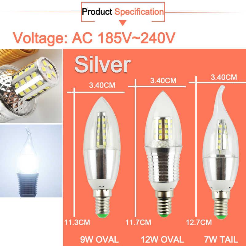 1 قطعة/6 قطعة LED لمبة E14 الذهبي الألومنيوم LED مصباح بالشمع 9 واط 12 واط مصباح ليد التيار المتناوب 220 فولت الدافئة LED مصباح Lampada Bombillas Lumiere Lampara